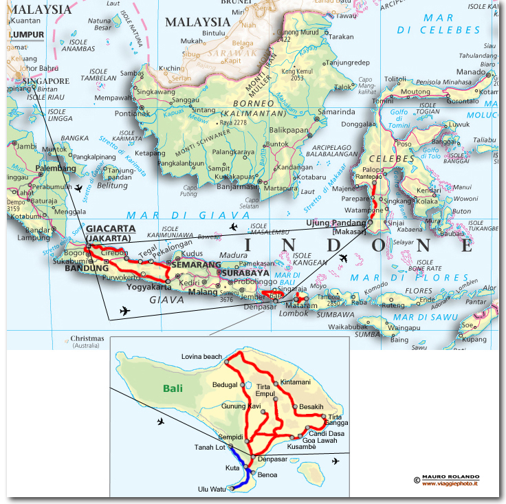 Cartina Bali Indonesia.Cartina Bali