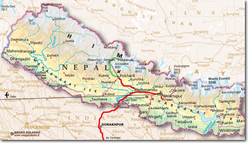 Cartina Mondo Nepal.Cartina Nepal Trekking