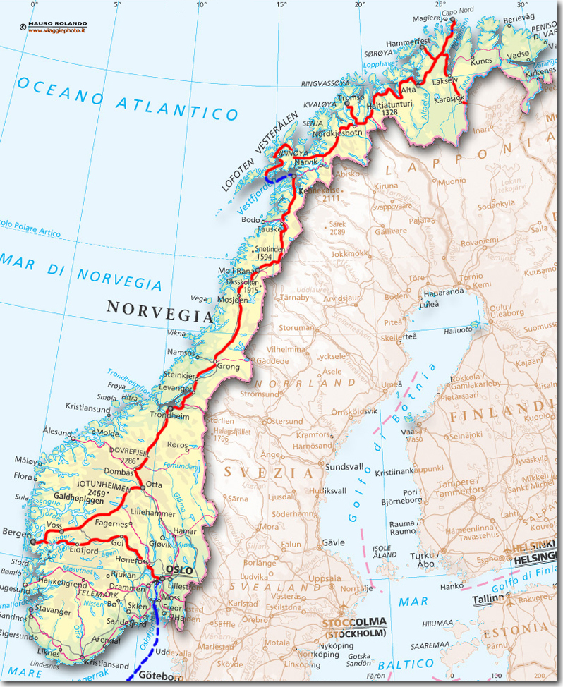 Cartina Della Norvegia.Cartina Norvegia