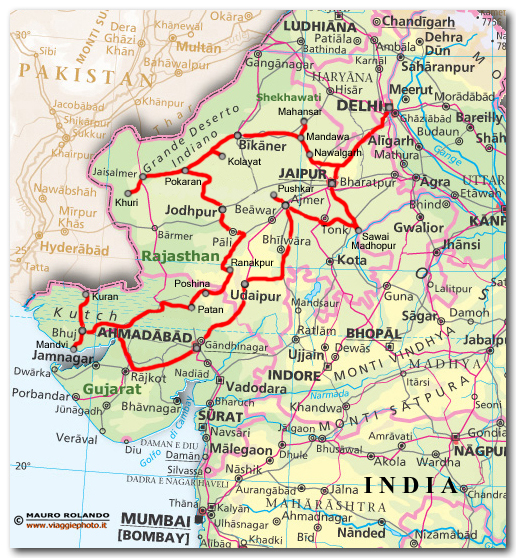 Cartina Rajasthan India.Cartina Rajasthan